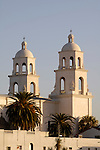 Palm trees and bell towers of St. Augustine Cathedral, Tucson, Arizona