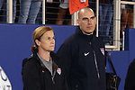 15 December 2012: U.S. interim head coach Jill Ellis (USA) (left) with goalkeeping coach Paul Rogers (ENG) (right). The United States Women's National Team played the China Women's National Team at FAU Stadium in Boca Raton, Florida in a women's international friendly soccer match. The U.S. won the game 4-1.