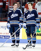 Matt Duffy (Maine - 21), Lem Randall (Maine - 22) - The Boston University Terriers defeated the University of Maine Black Bears 1-0 (OT) on Saturday, February 16, 2008 at Agganis Arena in Boston, Massachusetts.