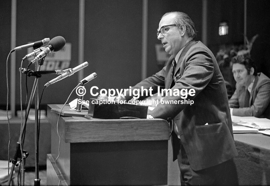 Gerry Fitt, leader, SDLP, Social Democratic &amp; Labour Party, speaking at his party's annual conference in the Europa Hotel, Belfast, N Ireland, UK, 197501000098GF1<br /> <br /> Copyright Image from Victor Patterson, 54 Dorchester Park, Belfast, UK, BT9 6RJ<br /> <br /> t: +44 28 90661296<br /> m: +44 7802 353836<br /> vm: +44 20 88167153<br /> e1: victorpatterson@me.com<br /> e2: victorpatterson@gmail.com<br /> <br /> For my Terms and Conditions of Use go to www.victorpatterson.com