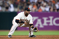 21 April 2009: San Francisco Giants' Pablo Sandoval is seen on defense at third base during the San Francisco Giants' 8-3 win  over the San Diego Padres at AT&T Park in San Francisco, CA.