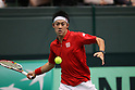 Kei Nishikori (JPN), FEBRUARY 12, 2012 - Tennis : Davis Cup 2012, World Group 1st Round match between Kei Nishikori 3-0 Ivan Dodig (CRO) at Bourbon Beans Dome, Hyogo, Japan. (Photo by Daiju Kitamura/AFLO SPORT) [1045]