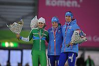 SCHAATSEN: GRONINGEN: Sportcentrum Kardinge, 17-01-2015, KPN NK Sprint, Podium 1e 500m Dames, Floor van den Brandt, Thijsje Oenema, Margot Boer, ©foto Martin de Jong