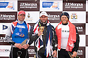 Ben Ainslie (1st) Ed Wright (2nd) and Jonas Hoegh-Christensen (3rd) celebrate on the podium of The JP Morgan Asset Management Finn Gold Cup 2012. Falmouth.Credit: Lloyd Images