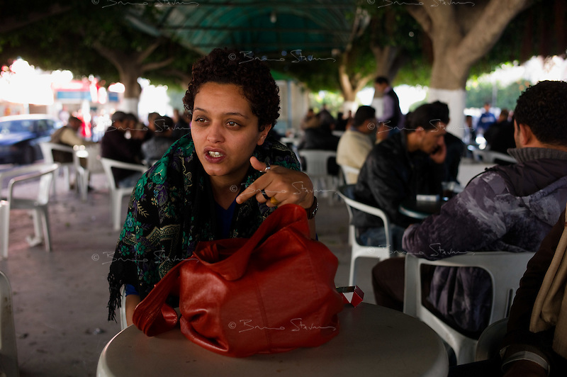 Tunis, January 15, 2011.Olfa Riahi, 28, a radio host from a popular talk show on Express Radio, was suspended by her management a week ago after she supported on air the growing insurrection; she then wrote a manifesto on Facebook which became an instant success...