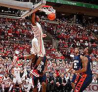 Ohio State Buckeyes forward Sam Thompson (12) throws down an alley-oop dunk against Morgan State Bears during the 2nd half of their game at The Value City Arena at the Jerome Schottenstein Center on November 9, 2013.  (Dispatch photo by Kyle Robertson)