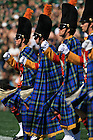 The Irish Guard marches onto the field for a University of Notre Dame home football game.<br />