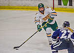 13 February 2015: University of Vermont Catamount Defender Taylor Willard, a Freshman from Naperville, IL, in first period action against the University of New Hampshire Wildcats at Gutterson Fieldhouse in Burlington, Vermont. The Lady Catamounts fell to the visiting Wildcats 4-2 in the first game of their weekend Hockey East series. Mandatory Credit: Ed Wolfstein Photo *** RAW (NEF) Image File Available ***