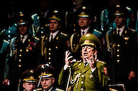 A bass soloist of the Russian Army Choir ?Alexandrov Ensemble? sings solo part during a concert given in Loket, Czech Republic, 14 June 2009. Alexandrov Ensemble (established in 1928) is the official army choir of the Russian armed forces (Red Army). The ensemble consists of a male choir, a music orchestra and a dance ensemble. The music repertoire of Alexandrov Ensemble range from traditional Russian balalaika tunes to church hymns, Italian opera arias and pop music songs.