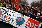 Paris, France.November 20, 2007..Thousands of people take to the streets of Paris as French public transport strikers from SNCF and RATP join forces with teachers, postal workers, air traffic controllers and other civil servants for a nationwide demonstration on issues such as pensions reforms, job cuts and cost of living. Railway strikers, on strike for the seventh day, are protesting President Nicolas Sarkozy's plans to reform the economy by scrapping pension privileges that allow retirement as early as age 50..