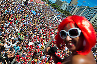 An Empolga as 9 band singer performs during the carnival street party in Copacabana, Rio de Janeiro, Brazil, 18 February 2012. Most of the carnival street parties in Rio are organized and run by Blocos. Each Bloco consists of a musical band and a group of partygoers. The Blocos, closely linked to the neighborhoods they come from, start their free-to-join parades early in January and continue throughout the carnival season. Playing usually their own samba song, backed up with a numerous bateria (drum and percussion players), Blocos are considered the beating heart of the Rio Carnival.
