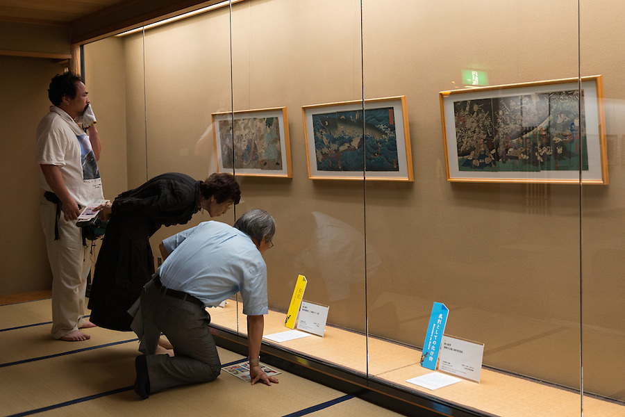 """An exhibition on woodblock prints of """"yokai"""" monsters, Ota Memorial Museum of Art, Tokyo, Japan, July 15, 2014.Three exhibitions of woodblock prints of yokai monsters (spectres, ghosts, and sorcerers) were held at the museum in Harajuku, Tokyo during summer 2014."""