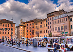 Artists gather most weekends in the famous and historic Piazza Navona (Rome, Italy).