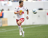 Juan Pablo Angel #9 of the New York RedBulls races onto a pass during a MLS match against the Philadelphia Union on April 24 2010, at RedBull Arena, in Harrison, New Jersey.RedBulls won 2-1.