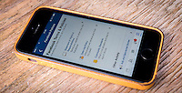 Facebook Social Networking Website, Terms and Conditions Page Displayed on an Apple Iphone 5s - 17th May 2014.