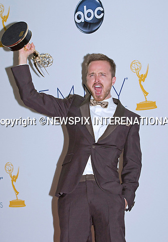 "AARON PAUL - 64TH PRIME TIME EMMY AWARDS.Nokia Theatre Live, Los Angelees_23/09/2012.Mandatory Credit Photo: ©Dias/NEWSPIX INTERNATIONAL..**ALL FEES PAYABLE TO: ""NEWSPIX INTERNATIONAL""**..IMMEDIATE CONFIRMATION OF USAGE REQUIRED:.Newspix International, 31 Chinnery Hill, Bishop's Stortford, ENGLAND CM23 3PS.Tel:+441279 324672  ; Fax: +441279656877.Mobile:  07775681153.e-mail: info@newspixinternational.co.uk"
