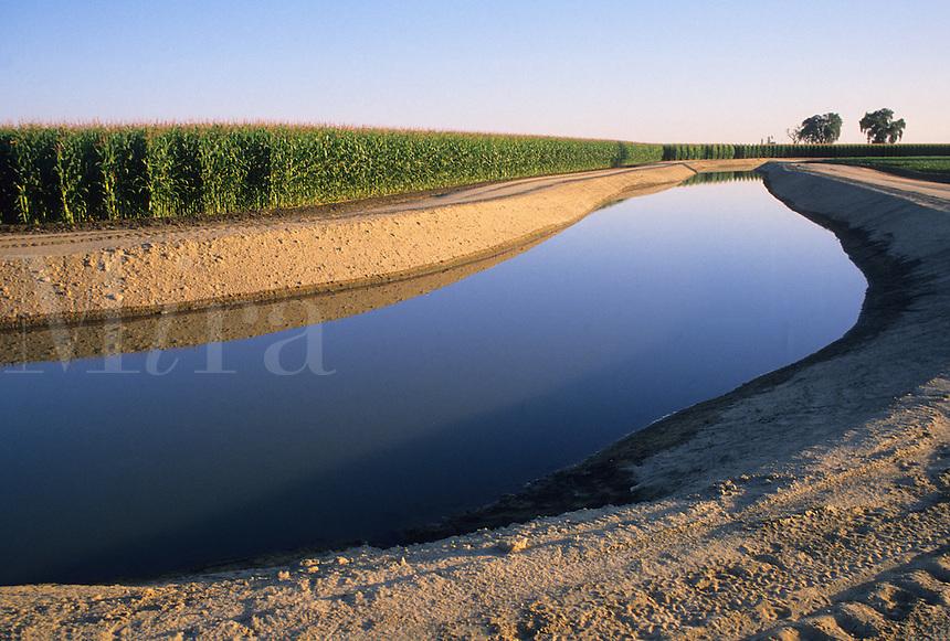 Irrigation canal near corn field Bakersfield California
