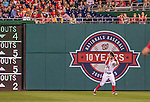 22 May 2015: Washington Nationals outfielder Bryce Harper pulls in a 6th inning Maikel Franco fly ball for the third out against the Philadelphia Phillies at Nationals Park in Washington, DC. The Nationals defeated the Phillies 2-1 in the first game of their 3-game weekend series. Mandatory Credit: Ed Wolfstein Photo *** RAW (NEF) Image File Available ***