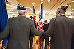 Veterans from dozens of American Legion Posts held hands in brotherhood during Military Parade ceremonies at American Legion's Fifth Annual Military Ball/Post Commanders Night at the Stuart Thomas Manor, Farmingdale, New York, USA, on Saturday, February 18, 2012.