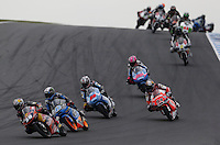 Moto3 riders during the Australian Motorcycle GP in Phillip Island, Oct 20, 2013. Photo by Daniel Munoz/VIEWpress IMAGE RESTRICTED TO EDITORIAL USE ONLY- STRICTLY NO COMMERCIAL USE.