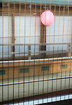 """Wooden blinds cover the windows of a """"yakata-bune"""" pleasure boat operated by Harumiya Co. in Tokyo, Japan on 30 August  2010. Photographer: Robert Gilhooly"""