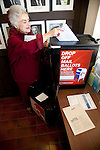 Winne Biocini delivers her vote-by-mail ballot at the Los Altos City Hall.