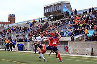 TORONTO, ON - MAY 06:  Greg Worthington #3 of Toronto Wolfpack pushes Josh Scott #8 of Oxford RLFC to the ground as he looks for the try line during the second half of a Kingstone Press League 1 match at Lamport Stadium on May 6, 2017 in Toronto, Canada.  (Photo by Vaughn Ridley/SWpix.com)