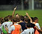 Aug. 25, 2012; Men's Soccer vs Duke; Celebration after the Irish goal in the 1-0 win. ..Photo by Matt Cashore/University of Notre Dame