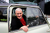 UK ENGLAND WILTSHIRE MALMESBURY 14SEP06 - Inventor and company chairman James Dyson (58) sits in a classic Mini car in front of the Dyson headquarters in Malmesbury, Wiltshire. His company - with its distinctive range of boldly-coloured products - is now said to be Europe's fastest growing manufacturer and has achieved sales of over &pound;3bn worldwide, with &pound;35m profit in 2000.<br /> Photography by Jiri Rezac<br /> Tel 0044(0)208 944 6933<br /> www.linkphotographers.com