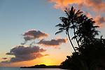 Sunset as seen from the Hotel Molokai in the town of Kaunakakai, Molokai, Hawaii, USA