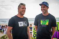 North Kirra, Queensland, Australia. (Friday, January 17, 2014) &ndash; Current World Surfing Champion Mick Fanning(AUS) and  former World Surfing Champion Joel Parkinson (AUS), who spent their  teenage years honing their  surfing skills at Kirra beach, spoke out today about the controversial development planned at the beach.<br /> Fanning  and parkinson have signed a petition on www.change.org opposing the development, as well as tweeting about the petition to his 138,000 Twitter followers. More than 35,000 people have signed the petition.<br /> Fanning  and Parkinson were both on the beach at the North Kirra this morning signing autographs having  photos taken and were greeted warmly by an enthusiastic army of supporters. The current 3 times World Professional champ  and the former champ were outlining their  views and concerns about the Gold Coast beaches and the Cruise Ship Terminal/Casino issue on public land.<br /> Fanning and Parkinson will take part in a &ldquo;Paddle-Out&rdquo; protest at North Kirra on Sunday  (19 January). Those who can&rsquo;t paddle are being asked to turn up at the beach for a land-based protest.<br />   Photo: joliphotos.com