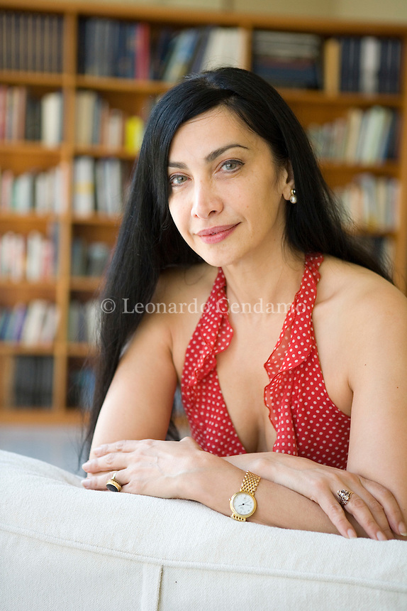 Turin, Italy, 2007. Maram al-Masri, Syrian poetess and writer living in Paris.