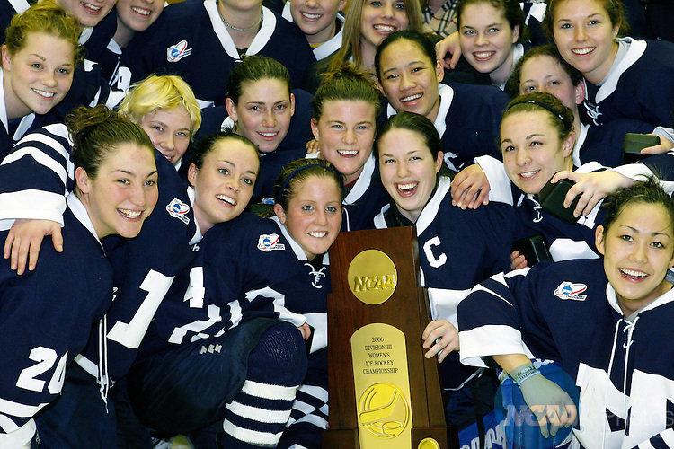 18 Mar 2006. Happy faces of Middlebury College's womens hockey team surround their first place trophy in the NCAA Division lll Championship Saturday night at SUNY Plattsburgh in upstate New York. Middlebury defeated Plattsburgh State 3-1 in the championship game. The game was held in the Stafford Arena. Nancie Battaglia/NCAA Photos