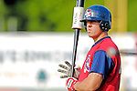 30 June 2007: Lowell Spinners catcher Ty Weeden awaits his turn in the batting cage prior to a game against the Vermont Lake Monsters at Historic Centennial Field in Burlington, Vermont. The Spinners defeated the Lake Monsters 8-4 in the last game of their 3-game, NY Penn-League series...Mandatory Photo Credit: Ed Wolfstein Photo