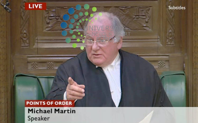 """The Speaker of the House of Commons has been challenged by MPs to stand down in unprecedented scenes in the chamber..Michael Martin did not mention his future in a statement on the expenses furore - instead setting out urgent action to reform the system..He said they must all """"accept blame"""" for the """"terrible damage"""" caused """"to the reputation of this house""""..But a succession of MPs challenged him openly saying they wanted a debate and a vote of no confidence in him. Picture: BBC/Universal News and Sport (Scotland) 18/5/09 . (Universal News does not claim any Copyright or License in the attached material. Any downloading fee charged by Universal News and Sport is for Universal News services only. We are advised that videograbs should not be used more than 48 hours after the time of original transmission, without the consent of the copyright holder). ."""