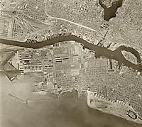 historical aerial photograph Oakland, California, 1958
