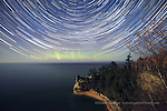 Miner's Castle, Startrails, and aurora, Pictured Rocks