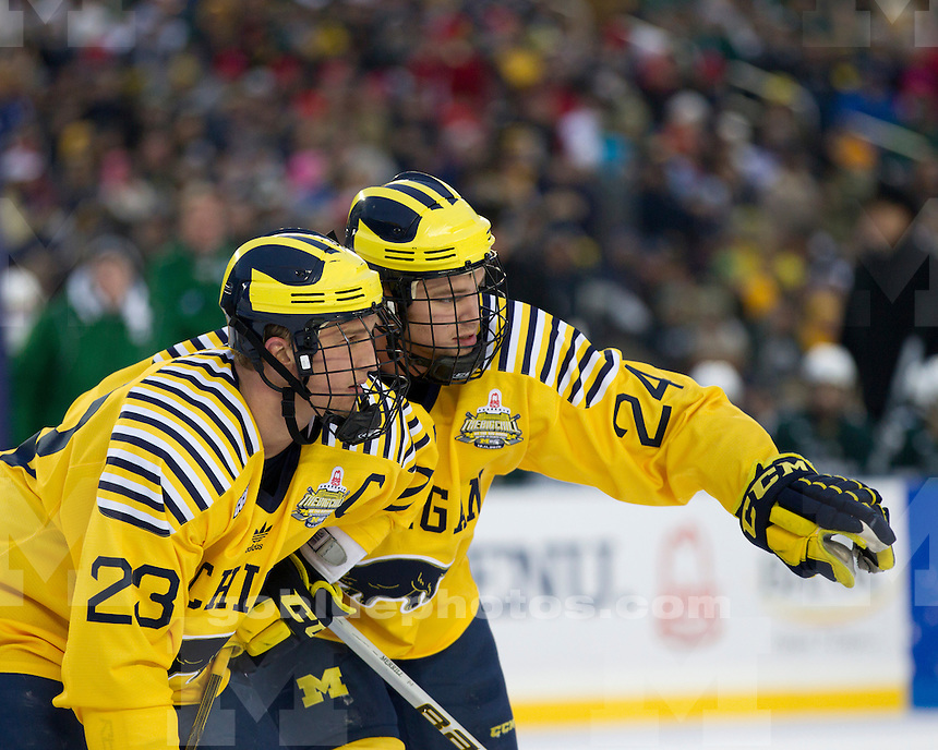 """University of Michigan men's ice hockey 5-0 victory over Michigan State University in the """"Big Chill at the Big House"""" at Michigan Stadium in Ann Arbor, MI, on December 11, 2010.."""