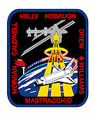 Houston, TX - May 1, 2007 -- The STS-118 patch represents Space Shuttle Endeavour on its mission to help complete the assembly of the International Space Station (ISS), and symbolizes the pursuit of knowledge through space exploration. The flight will accomplish its ISS 13A.1 assembly tasks through a series of spacewalks, robotic operations, logistics transfers, and the exchange of one of the three long-duration expedition crew members. On the patch, the top of the gold astronaut symbol overlays the starboard S-5 truss segment, highlighting its installation during the mission. The flame of knowledge represents the importance of education, and honors teachers and students everywhere. The seven white stars and the red maple leaf signify the American and Canadian crew members, respectively, flying aboard Endeavour. The NASA insignia design for space shuttle flights is reserved for use by the astronauts and for other official use as the NASA Administrator may authorize. Public availability has been approved only in the form of illustrations by the various news media. When and if there is any change in this policy which is not anticipated, it will be publicly announced..Credit: NASA via CNP