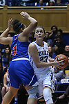 19 December 2014: Duke's Rebecca Greenwell (23) drives past UMass Lowell's Kayla Gibbs (1). The Duke University Blue Devils hosted the University of Massachusetts Lowell River Hawks at Cameron Indoor Stadium in Durham, North Carolina in a 2014-15 NCAA Division I Women's Basketball game. Duke won the game 95-48.