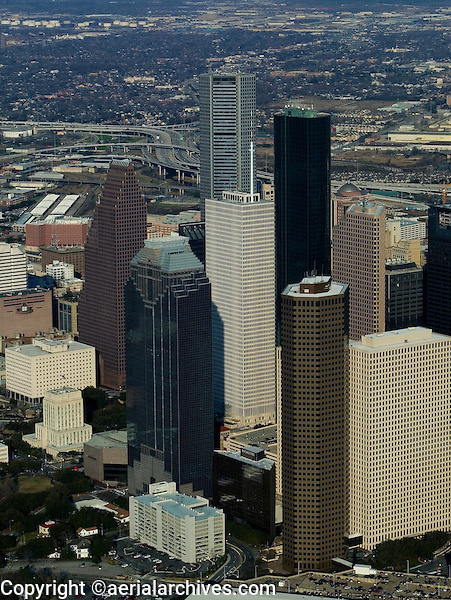 aerial photograph of the  JP Morgan Chase tower, Wells Fargo Plaza and Bank of America Center,  Houston, Texas