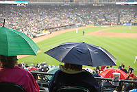 Detroit Tigers Rain Delay. Fans wait as bad weather forces a rain delay at Comerica Park.