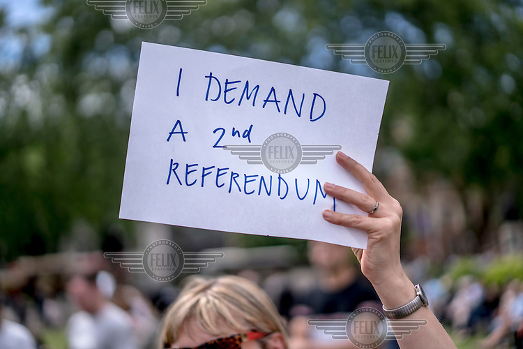 A woman holds a placard that reads: 'I demand a 2nd referendum' at a demonstration in Parliament Square protesting the victory of the 'leave' (the EU) side in the EU reeferendum.