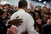United States President Barack Obama greets audience members after delivering remarks on the economy at the University of Miami Field House in Coral Gables, Fla., February 23, 2012. .Mandatory Credit: Pete Souza - White House via CNP