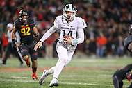 College Park, MD - October 22, 2016: Michigan State Spartans quarterback Brian Lewerke (14) runs the ball during game between Michigan St. and Maryland at  Capital One Field at Maryland Stadium in College Park, MD.  (Photo by Elliott Brown/Media Images International)