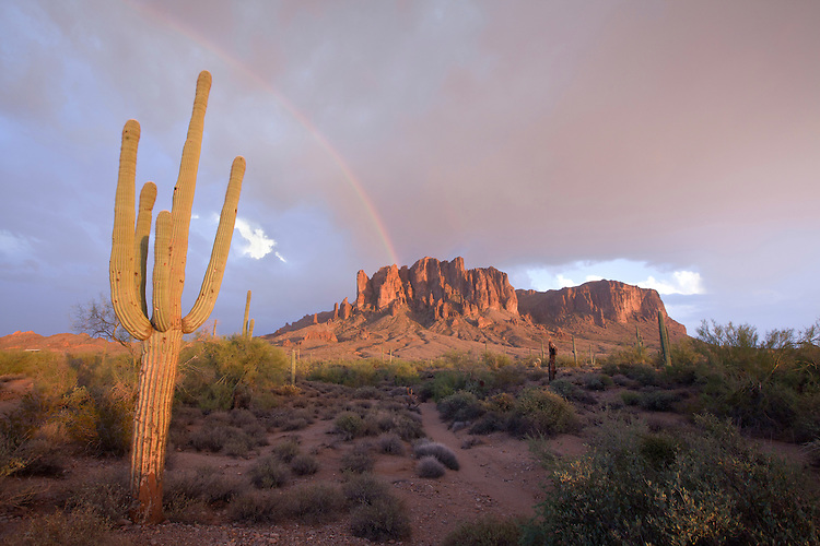 Rainbow over the Superstition Mountains, Lost Dutchman State Park, Arizona