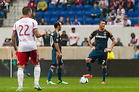 Landon Donovan (10) of the Los Angeles Galaxy and Robbie Keane (7) ready for the restart after conceding a goal. The New York Red Bulls defeated the Los Angeles Galaxy 1-0 during a Major League Soccer (MLS) match at Red Bull Arena in Harrison, NJ, on May 19, 2013.