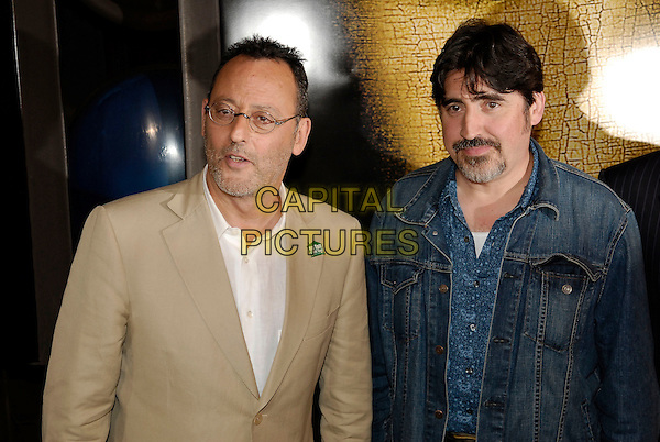 "JEAN RENO & ALFRED MOLINA.""The Da Vinci Code"" cast arrive at Cannes Film Festival after travelling on the new Eurostar ""Da Vinci Code"" train from Waterloo International to Cannes Film Festival in an attempt to break the world record for longest international non-stop train journey. Cannes, France. .May 16th, 2006.Ref: KRA.half length beige denim jean.www.capitalpictures.com.sales@capitalpictures.com.©Persun/Capital Pictures"