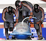 22 November 2009:  Milan Jagnesak, piloting the Slovakia 1 bobsled, leads his 4-man team to a 20th place finish at the FIBT World Cup competition, in Lake Placid, New York, USA. Mandatory Credit: Ed Wolfstein Photo