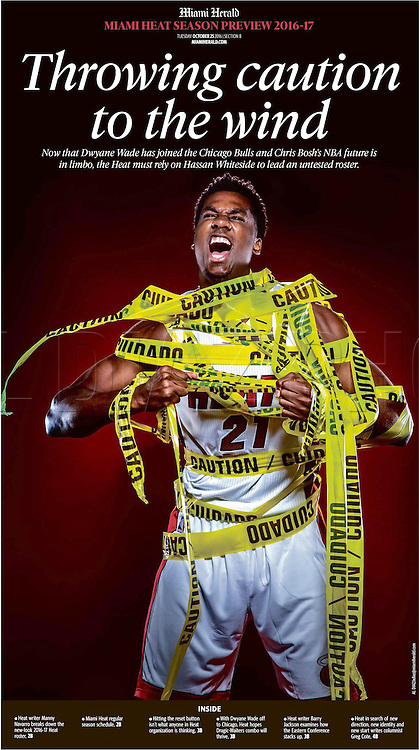 Miami Heat's Hassan Whiteside shot for the Miami Herald's season preview 2016. Throwing caution to the wind. Now that Dwyane Wade has joined the Chicago Bulls and Chris Bosh's NBA future is in limbo, the Heat must rely on Hassan Whiteside to lead an untested roster.